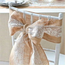 Elegant natural jute hessian wedding lace sashes for chairs