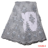 Fashionable Handmade beads Fabrics Embroidery African Lace Heavy High Quality Wedding Lace 3D Flower