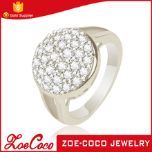 Zoecoco Jewelry I Love You Wedding Engagement Ring 18K White Gold/Platinum Plated Big Crystal Rings For Bride