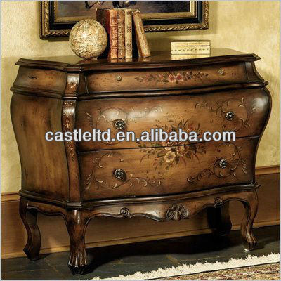 CF30152 3-Drawer Hall Chest-Hand Painted Floral console Table Luxury Cabinet