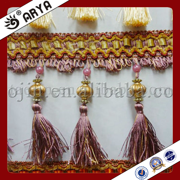 2015 Hot Sale Curtain Tassel Fringe Plastic Beads Tassel Trimming Beaded Ribbon Trim Beaded Trim For Curtains