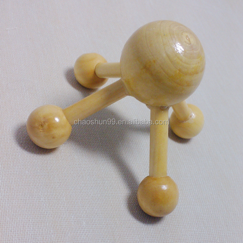 Promotional wooden head massager, small body massager wholesale