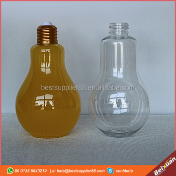 Bulb shaped plastic bottles smoothie bottles juice jar 500ml 400ml 360ml 320ml
