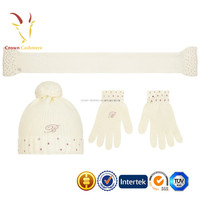 Plain Cashmere Knitted Winter Hat Scarf Gloves Set for Kids