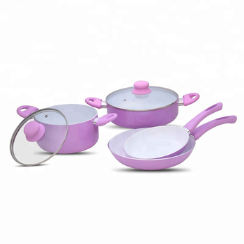 Cooking enamel hot pot pink cookware set with silicone ears