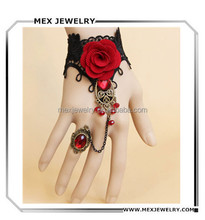 Fashion Handcraft Red Rose Women Lace Slave Bracelet with Ring