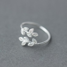 925 Sterling Silver Ring Female Virgin Sweet Diamonds Ring Open Leaves Index Finger Ring