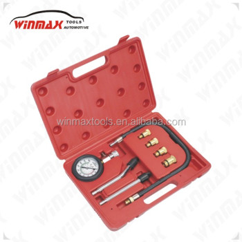 WINMAX 8 Pc Professional Gas Engine Test Spark Plug Cylinder Compression Tester Kit 0-300PSI WT04106