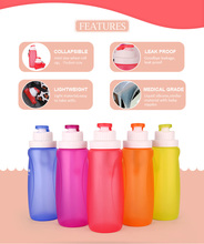 Kean Collapsible Outdoor BPA Free Reusable Silicone Water Bottle Leak Proof Roll Up Cup
