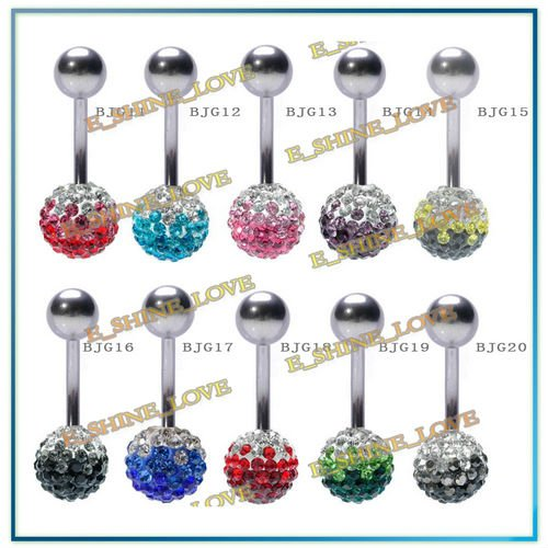 New Surgical Stainless Steel Body Piercing Jewelry 12mm Gradient Shamballa Ball Belly Bar Wholesale BJGmix2