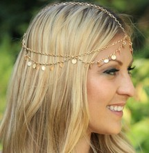 2016 Hot Fashion BOHO Style Gold Small Coins Hair Jewelry Wedding Head Chain