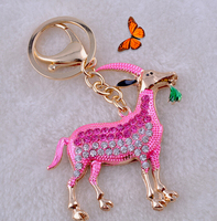 promotional ad present crystal sheep car key chain bag hanging pendant keyring.