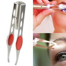 Stainless Steel Eyebrow Tweezers Lightweight Rvs Eyelash Eyebrow Handy Led Light Hair Removal Tweezer Makeup Tool M03396