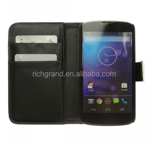 New black PU leather magnetic wallelt flip case stand cover for LG Nexus 4 E960