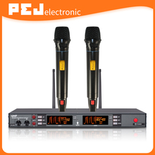 Professional microfone diversity PLL UHF Wireless Microphone with 2 microphones for karaoke stage up to 200 meters work range