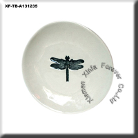 dragonfly ceramic small round plate