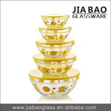 5pcs glass salad fruit bowl set with plastic lid,fresh keeping glass bowl set with flower decal