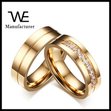 New 18K Gold Rings Design 2016 Stainless Steel Couple Wedding Jewelry Free Sample