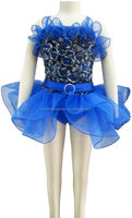 blue dribbling embroidery and royal blue stretch spandex and royal blue tricot for child for ballet costume