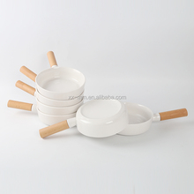 Wooden handle with ceramic bowls OEM designs logos tableware stoneware printed serving bowls