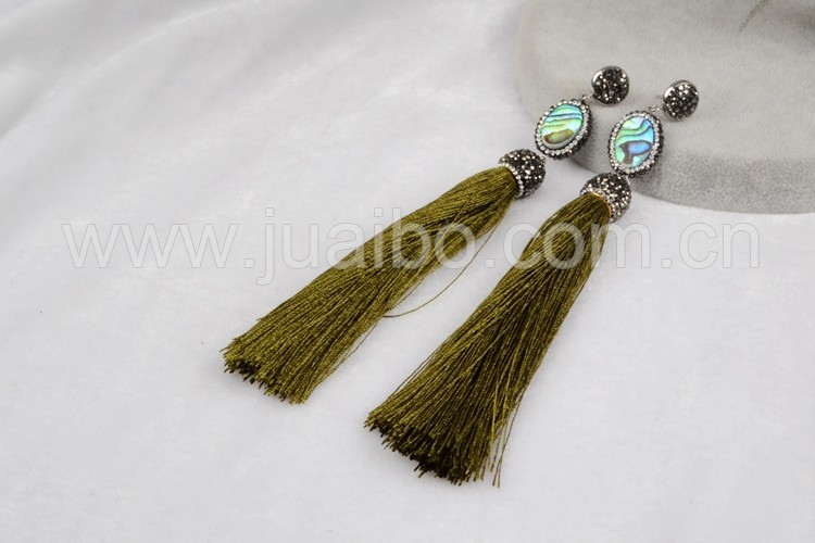 Rhinestone crystal paved abalone shell beads tassel studs earrings wholesale