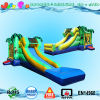 wet or dry inflatable combo commercial grade, jungle theme cheap jumping castles inflatable water slide or dry slide customized