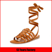 2015 romman style high quality leather rubber sole sandals for girls