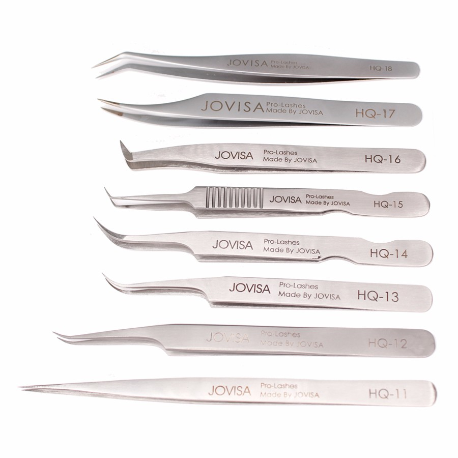 JOVISA High Quality Stainless Steel HQ-Series HQ-11/12/13/14 Volume Eyelashes Tweezers For Eyelash Extensions