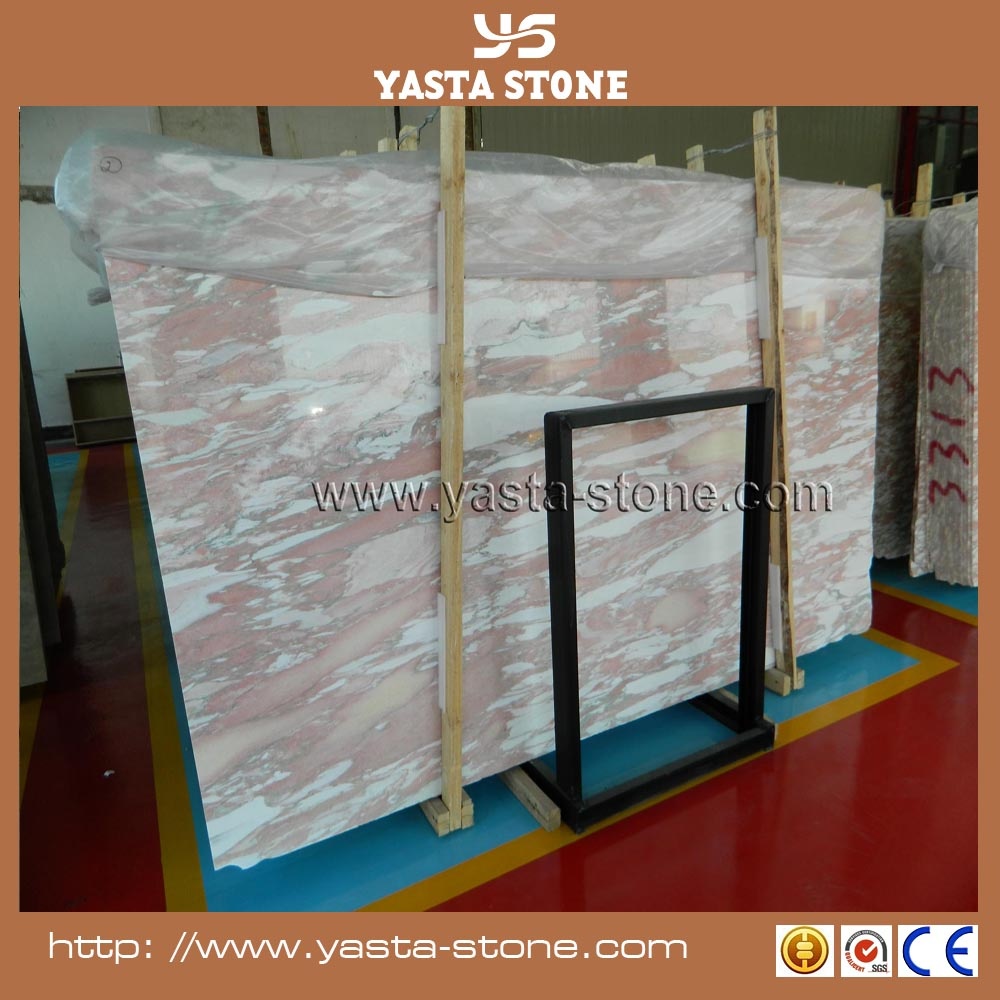Natural rosa norveigia red marble slab with cloud shape white patterns slab