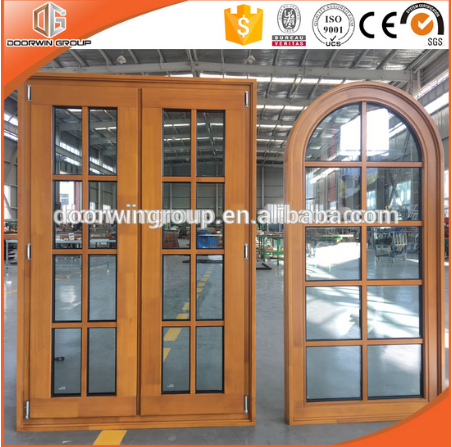 Round-top Casement Window with Grille Solid Pine Wood Germany Brand Hardware