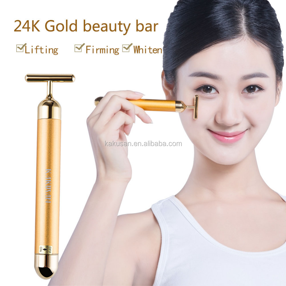 Facial Skin Tightening T Shape 24K Gold Energy Vibratin Beauty Bar