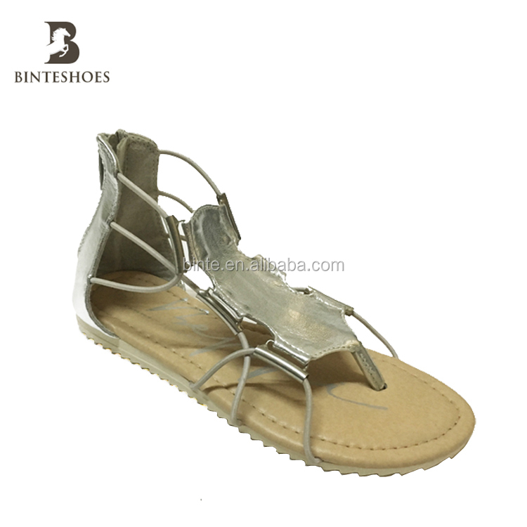 Nice design ladies fancy sandals flat heel women sandals of good price