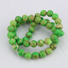 SM3013 Wholesale price sea sediment round beads,gemstone green imperial jasper beads