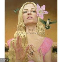 Handmade fantasy woman oil painting oils on canvas,Kris Lewis,woman with lily