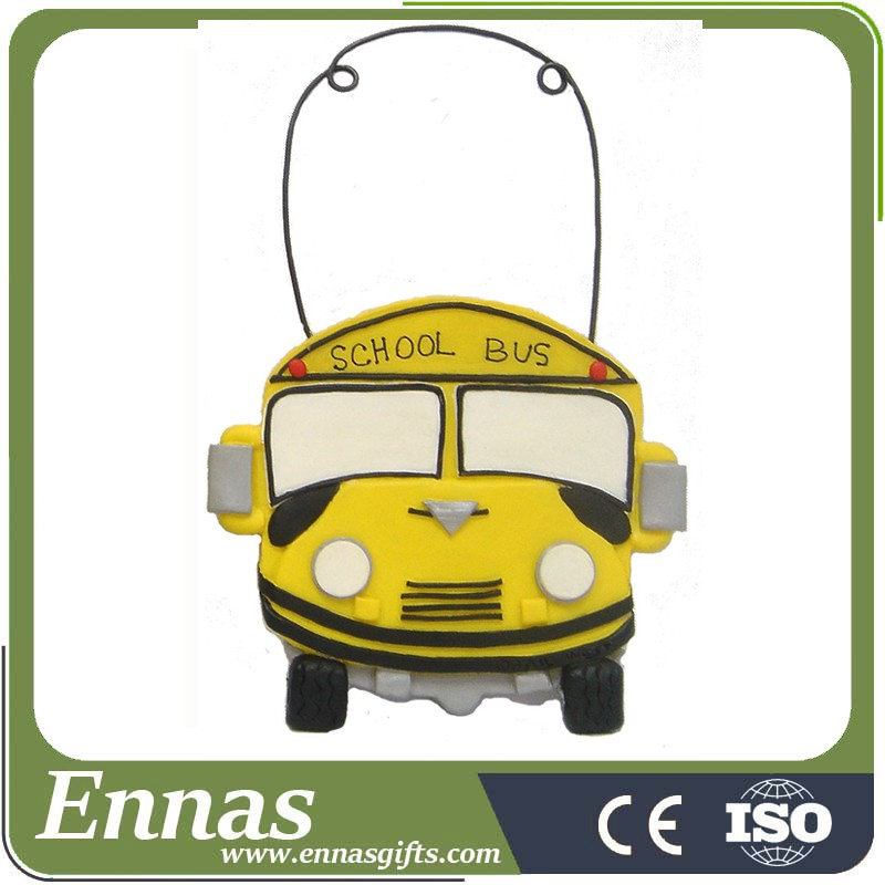 Polyresin school bus ornament for tree decoration