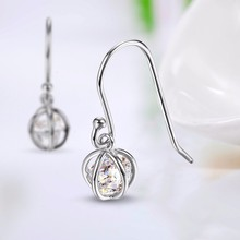 Single white cz stone bird cage hoop earrings designs jewelry with wire