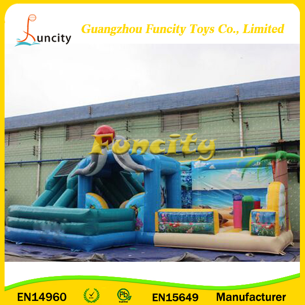 Guanzhou Factory CE Standard 0.55mm PVC Tarpaulin Dolphin Bouncy Castle, Inflatable Children Playground on Sale