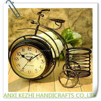 Creative Desk Clock Wrought Iron Bicycle Table Clock Double-side Quiet Clock