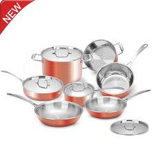 2016 hot sale stainless steel knob handle nonstick luxury copper cookware set