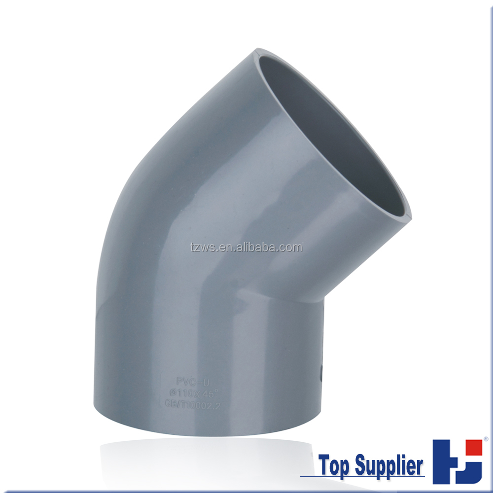 Factory manufacturing UPVC DIN water pipe fitting 45 degree elbow