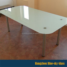 LT 12mm thick rectangle colored tempered glass table top with beveled edge