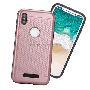 Cheapest ihone X cell phones case honeycomb pattern PC+TPU 2 in 1 motomo case For iphone 10 phone case
