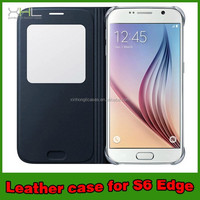 view window leather flip cover for samsung galaxy s6 edge for Galaxy S6 Leather Flip Cases