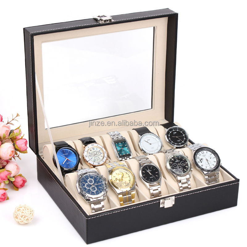 10 black leather watch box for wholesale