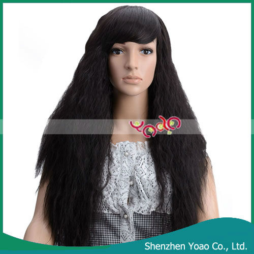 JCJ-190 Corn Ladies Side Bang Long Fluffy Human Hair Extensions Wig