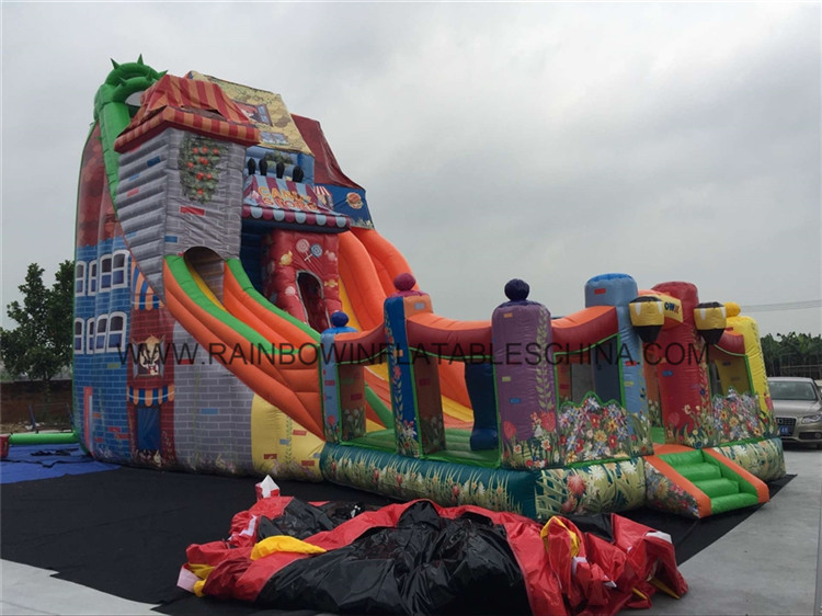 Happy Fun Town Inflatable Slide / Candy Store House Inflatable Bouncer Slide