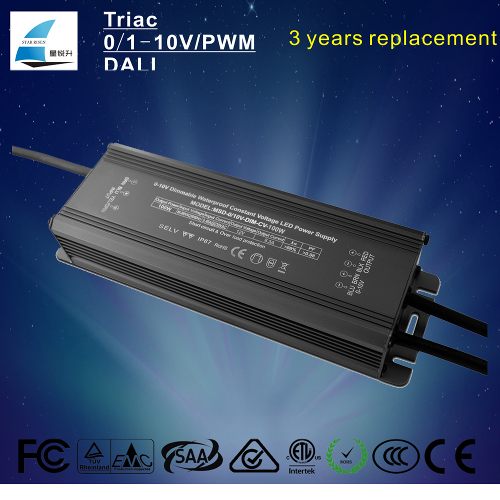 ul ac dc 0-10v pwm dimmable led adapter 12v 8.3a 100w led power supply 24v 4.15a shenzhen factory price