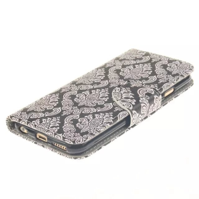For iphone 6s (4.7inch) Flip Wallet Case Cover damask pattern printed printing black