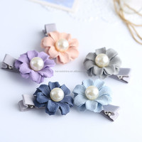 Fancy baby 3d fabric flower hair clips with pearl center