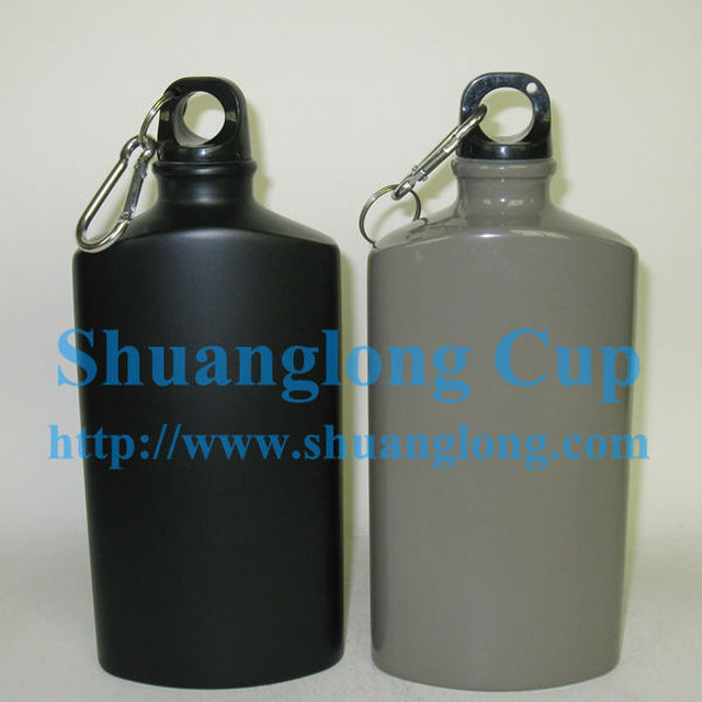 600ML 20oz Flat Aluminum Army Water Bottle With Carabiner Clip